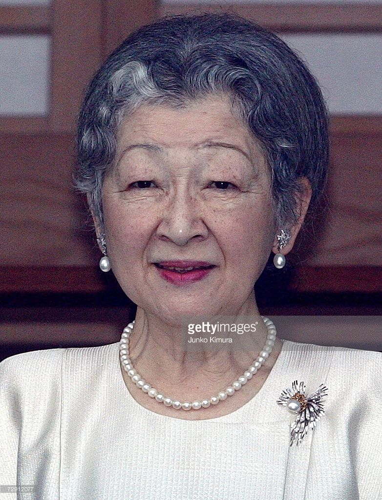 Empress Michiko of Japan greets well wishers celebrating the new year at Imperial Palace on January 2, 2007 in Tokyo, Japan. Japanese Imperial Family celebrated the New Year at Imperial Palace.