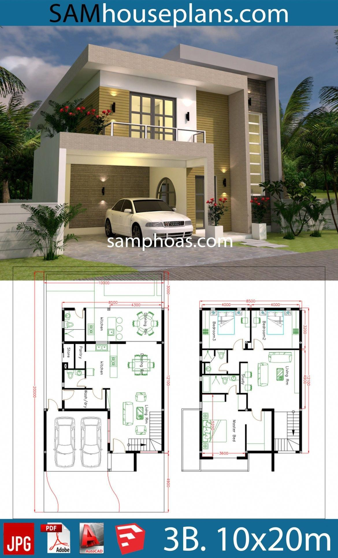 3d House Design Plans With 3 Bedrooms Plot 10x20m Samphoas Plansearch Luxuryhomeinterior Modern Style House Plans House Front Design 3d House Plans