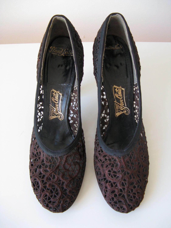 vintage 1940s chocolate lace shoes