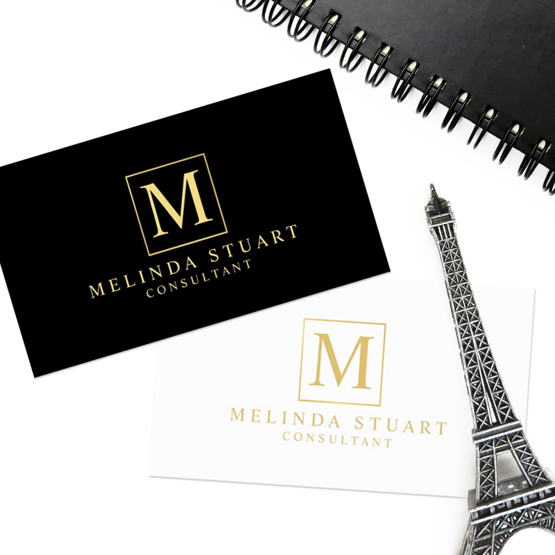 Elegant Stylish Monogram Business Card. Available in 4 colors: white ...