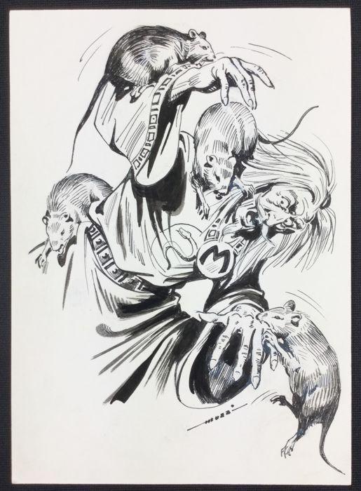 """Muzzi, Virgilio - original illustration for Tex """"L'atroce fine di Mefisto"""" - W.B."""