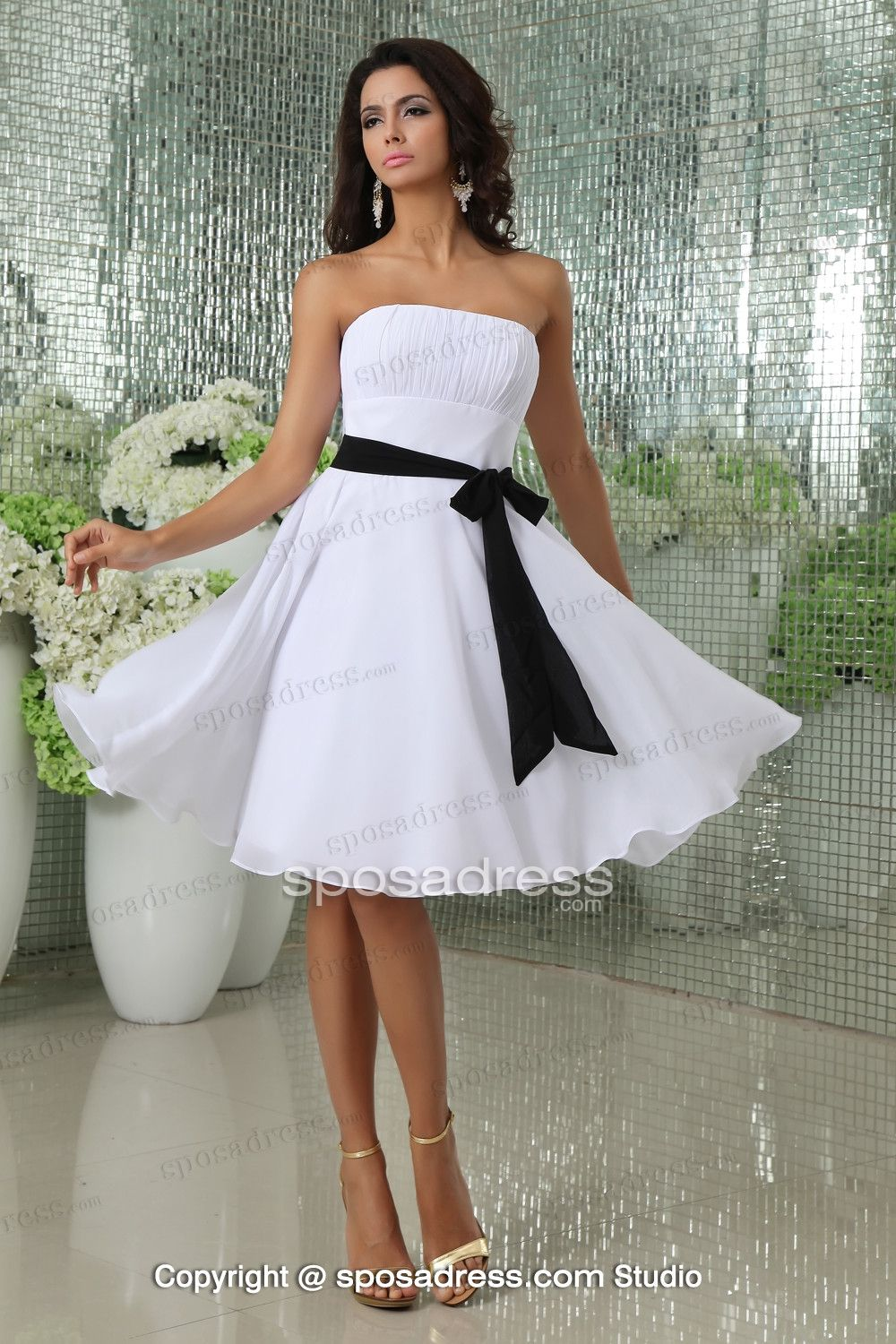 77168b27f2 White A-line Strapless Chiffon Short Bridesmaid Dress With Black Sashes