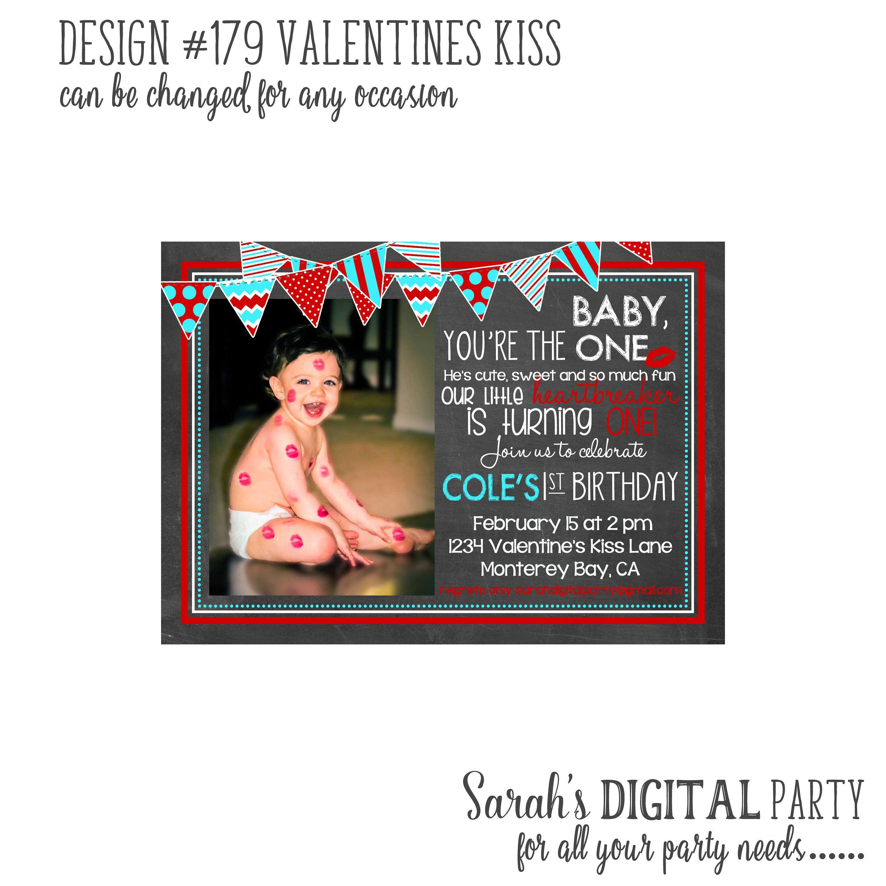 valentines kiss birthday invitation with photo 4x6 or 5x7 digital