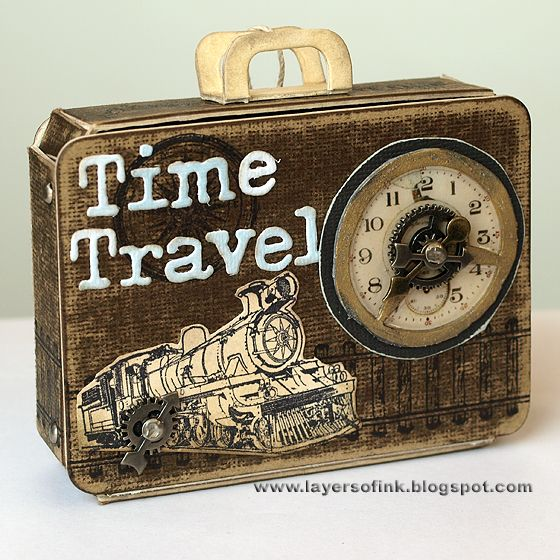 Layers of ink: Suitcase Mini-Book Tutorial. Tutorial using Eileen Hull's Sizzix Suitcase Bag die, with a mini-book inside. Full tutorial: http://layersofink.blogspot.com/2012/07/suitcase-mini-book-tutorial.html