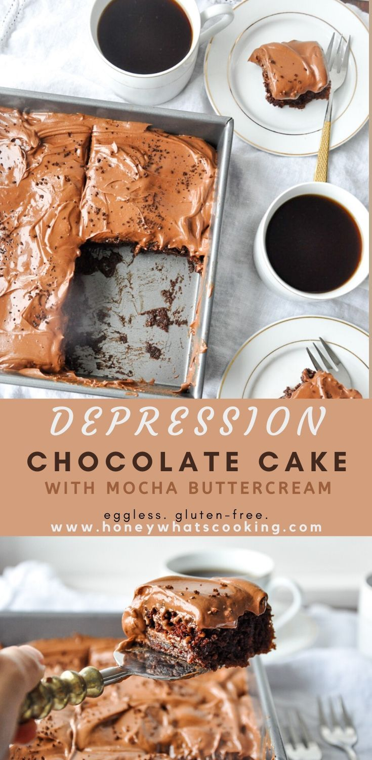 Chocolate Depression Cake with Mocha Buttercream (eggless, gluten-free) – Honey, Whats Cooking
