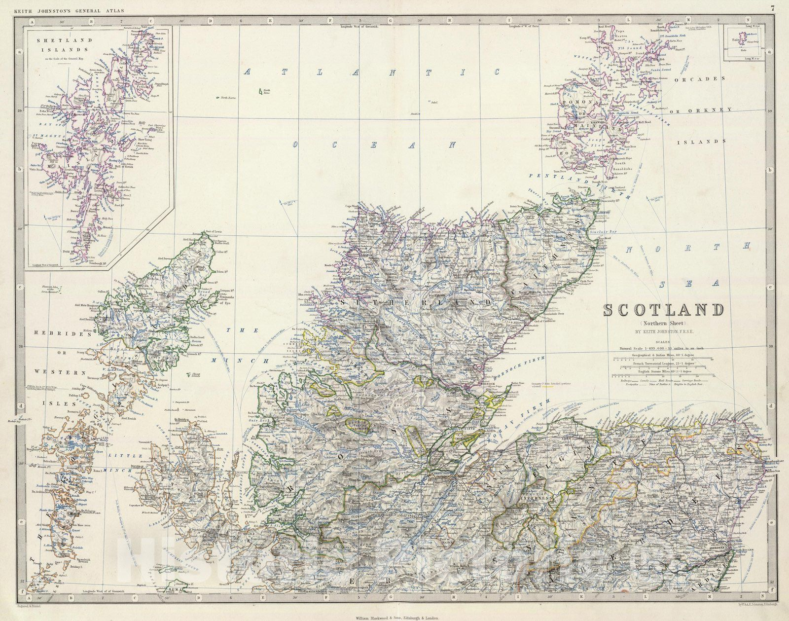 <p>Scotland, northern sheet, by Keith Johnston, F.R.S.E. Engraved & printed by W. & A.K. Johnston, Edinburgh. William Blackwood & Sons, Edinburgh & London, (1861) | The royal atlas of modern geography, exhibiting, in a series of entirely original and authentic maps, the present condition of geographical discovery and research in the several countries, empires, and states of the world by Alexander Keith Johnston ... With a special index to each map. William Blackwood and Sons, Edi