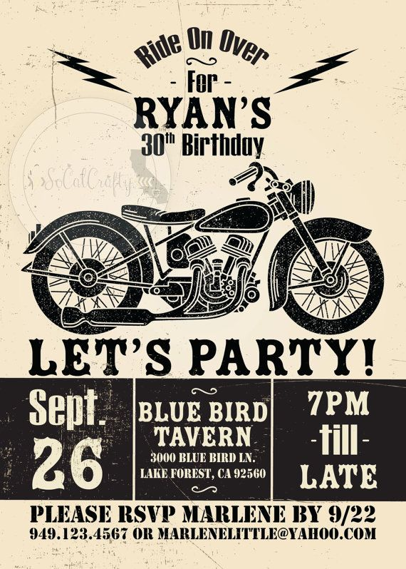 Motorcycle Birthday Party Invitation Poster Vintage Etsy In 2020 Motorcycle Birthday Parties Motorcycle Birthday Motorcycle Party