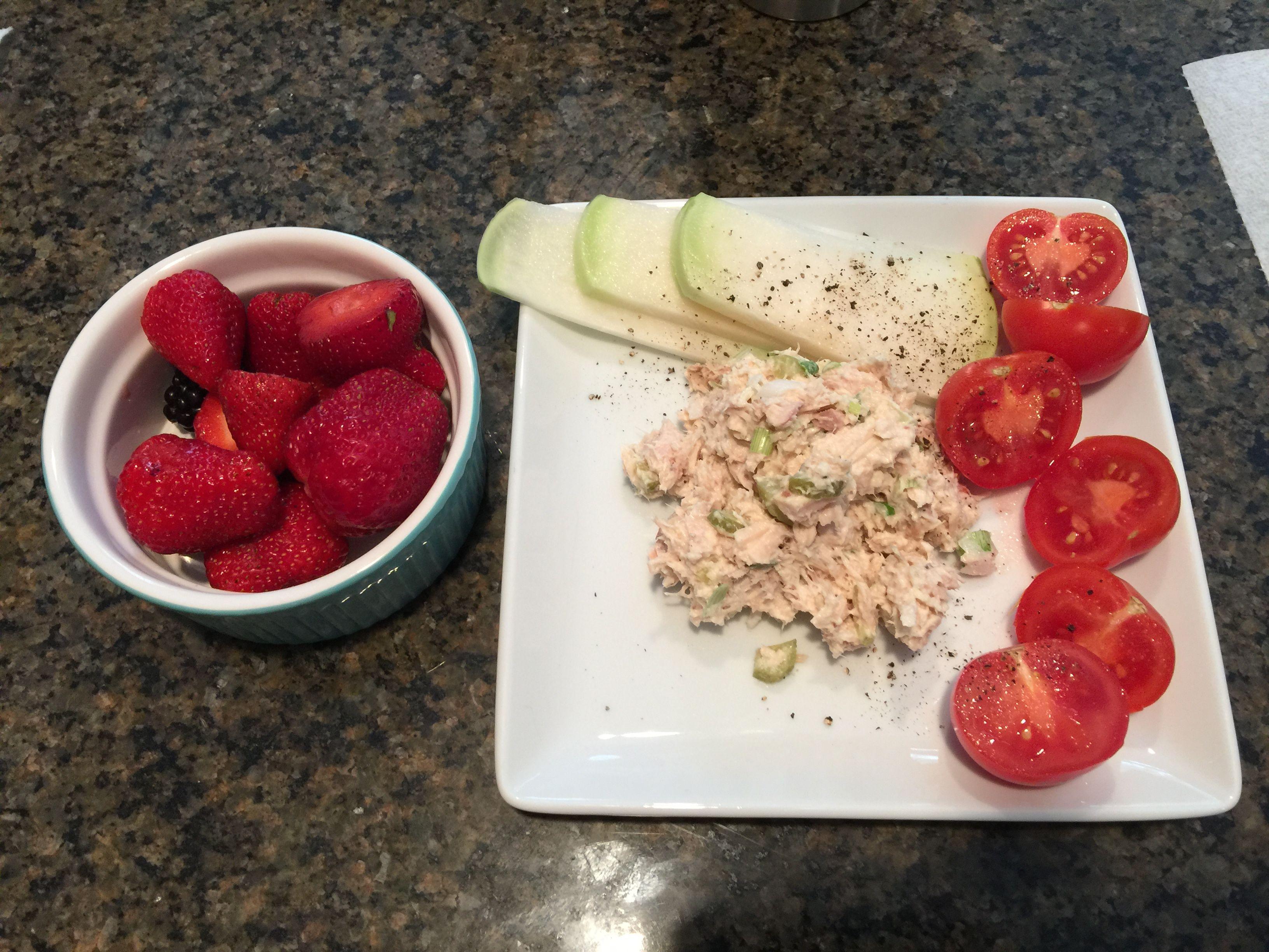 Brightline lunch 4 ounces tuna  Mayo 6 ounces veggies 6 ounces berries