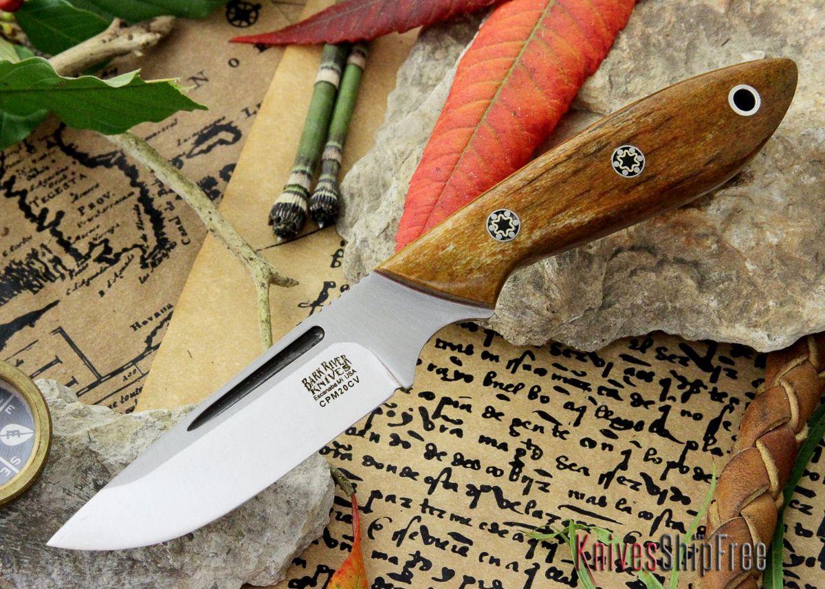 Bark River Knives: Adventurer Neck Knive - CPM 20CV - Giraffe Bone - Red Liner - Mosaic