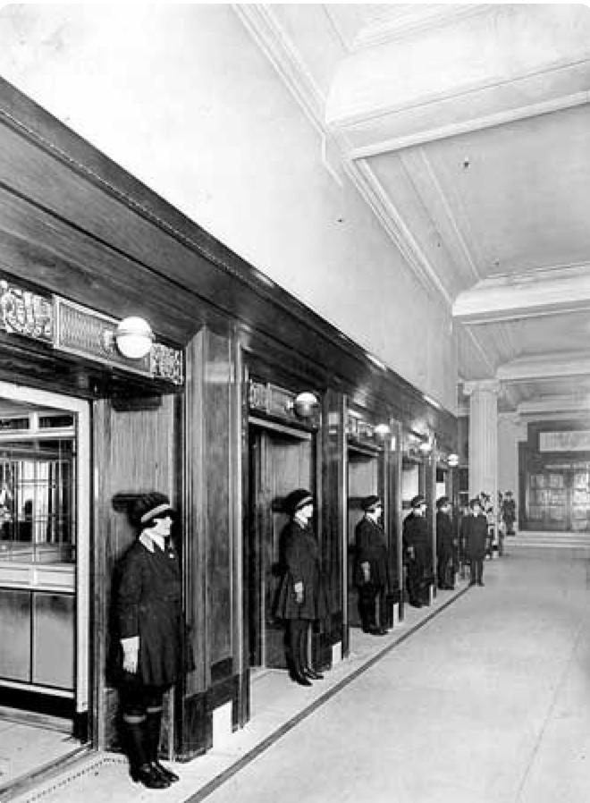Lift girls at Selfridges, 1928.