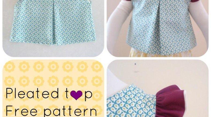 FREE SEWING PATTERN: Pleated top | naaien voor kinderen | Pinterest ...