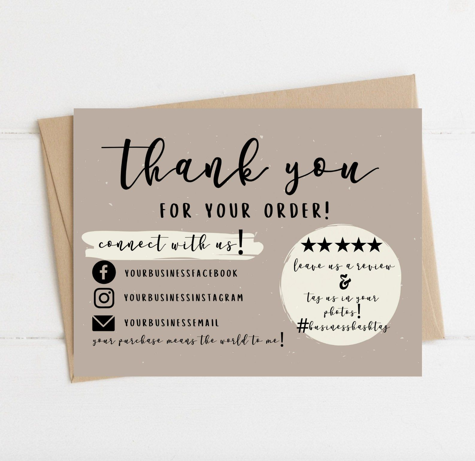 Instant download thank you card editable and printable