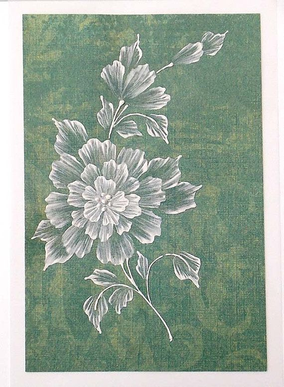 Texture Painted Floral Greeting Card by MargotTheMUDLady on Etsy