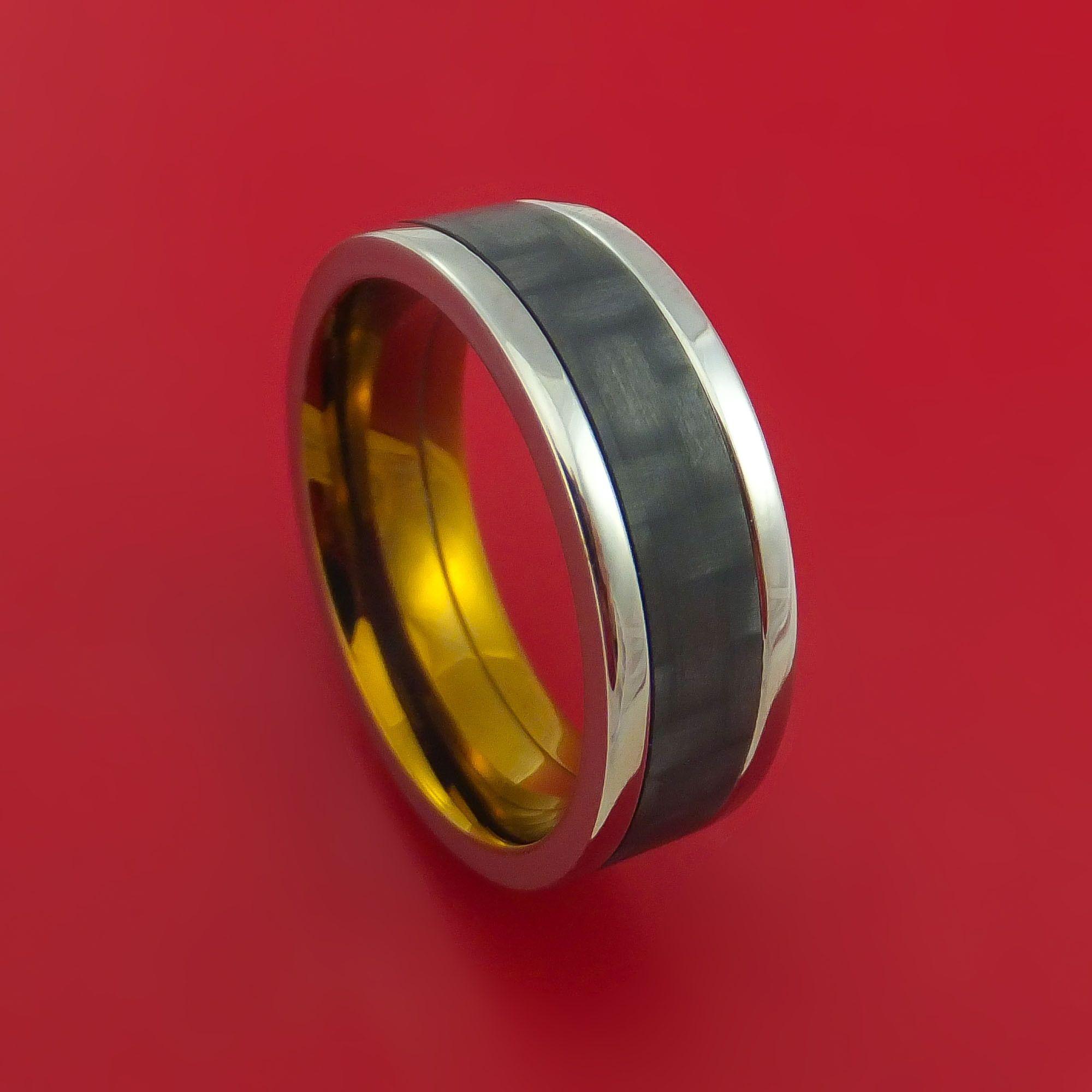 Titanium Ring with Black Carbon Fiber Inlay and Interior