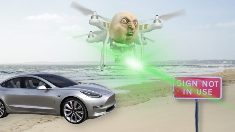 Tesla S Autopilot Dangerously Fooled By Drone Mounted Projectors Tesla Unmanned Aerial Vehicle Unmanned Aerial
