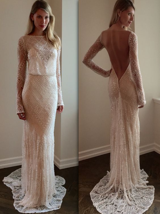 Lacey wedding dress with transparent accents and a wide flowy skirt ...