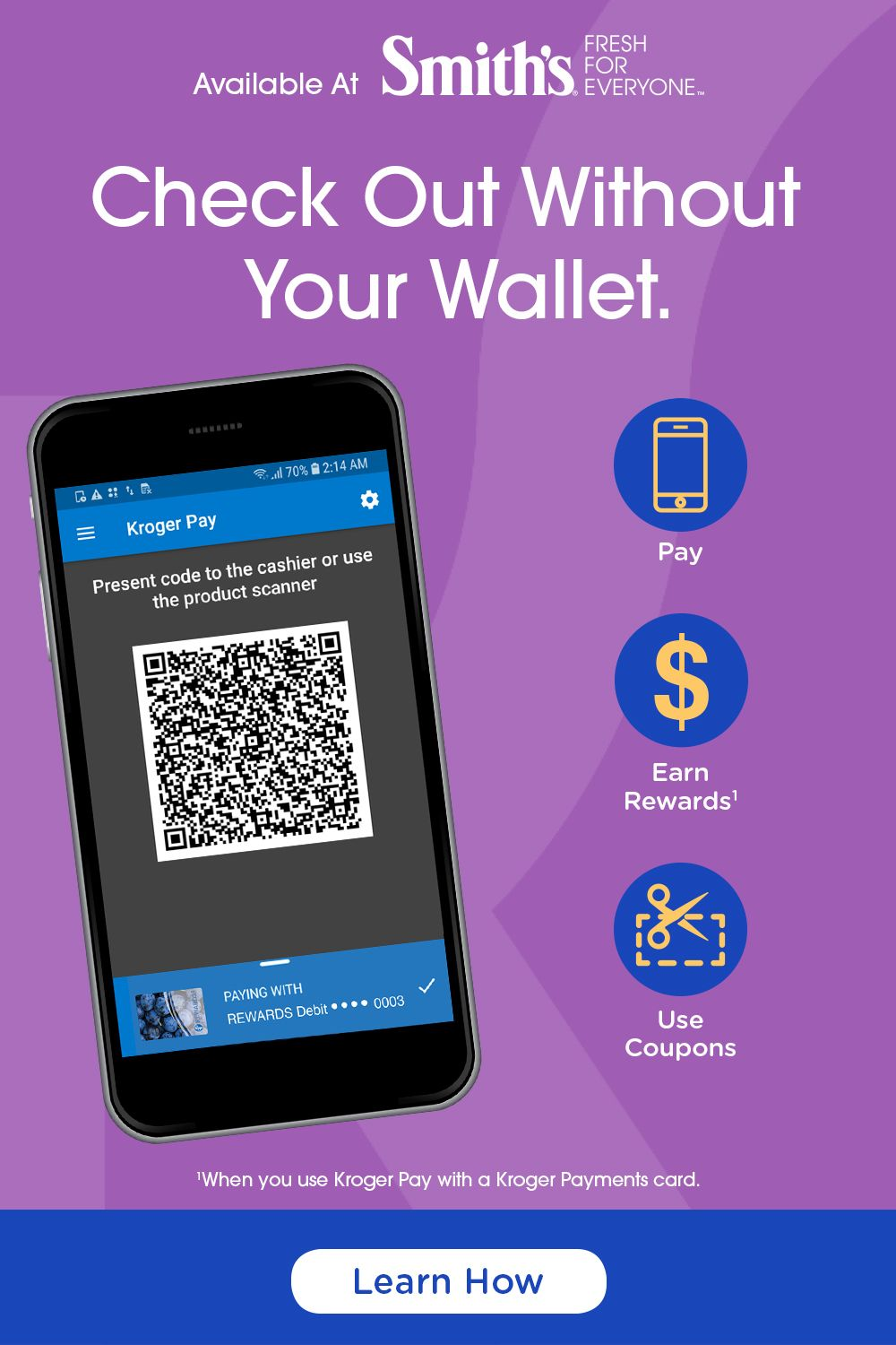 Leave your wallet at home and save time at checkout with