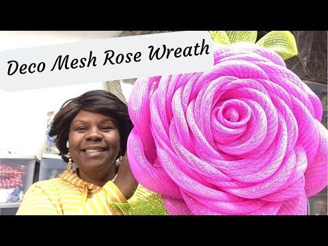 How to make a Pink Rose Deco Mesh Wreath for Spring