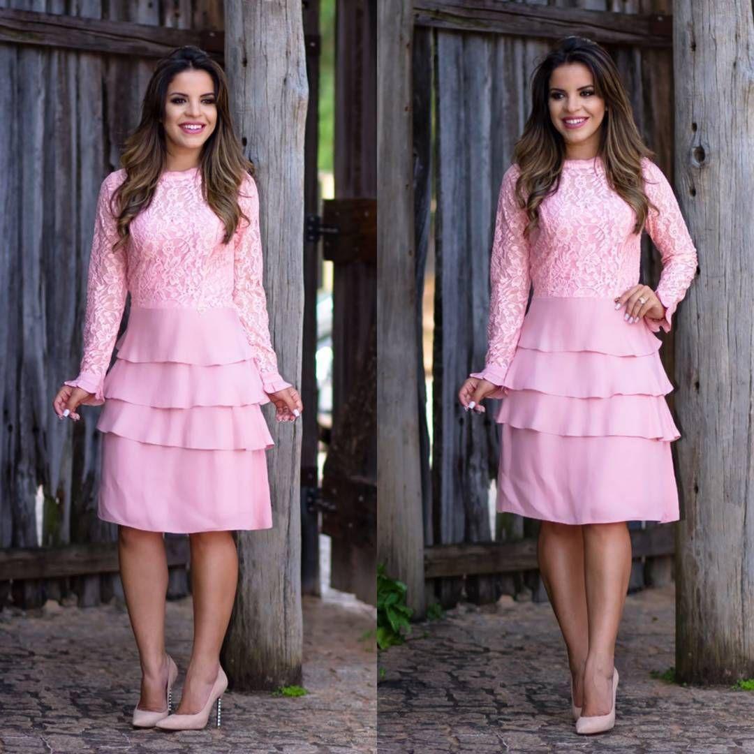 Lindo vestido ref.3388 renda com crepe em babado do p ao g1 nas ...