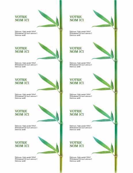 Cartes De Visite Bambou 10 Par Page Compatible Avec Avery 5371 Et Formats Similaires