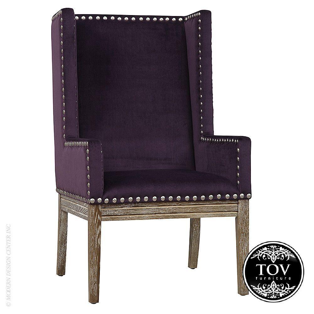 Tov Furniture Tribeca Purple Velvet Chair Easily adaptable