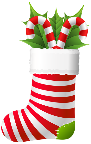 Christmas Stocking with Candy Canes PNG Clip Art