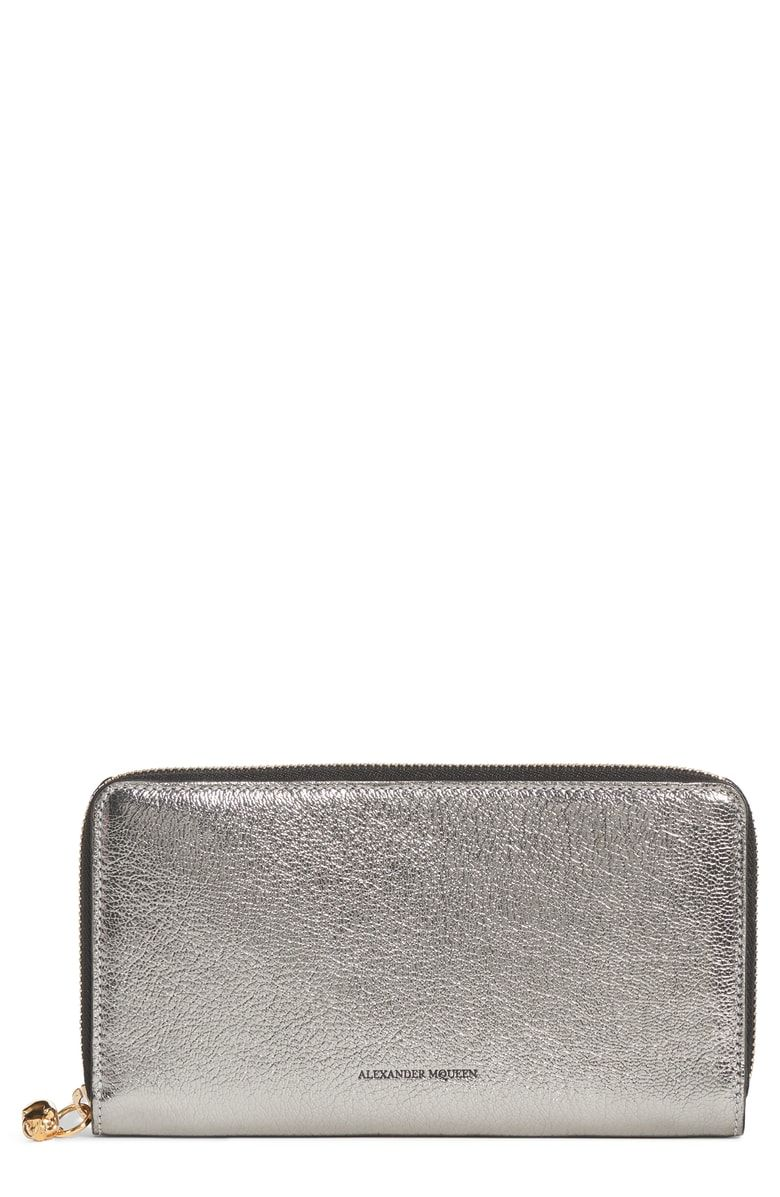 Free shipping and returns on Alexander McQueen Metallic Leather Continental  Wallet at Nordstrom.com. c9e4db78d6