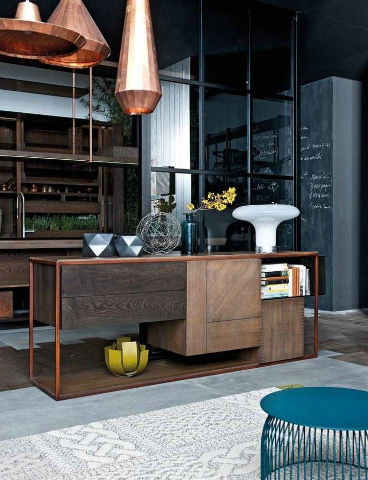 kupferfarbene Hängeleuchte moderne Küche Ideen Kücheninsel