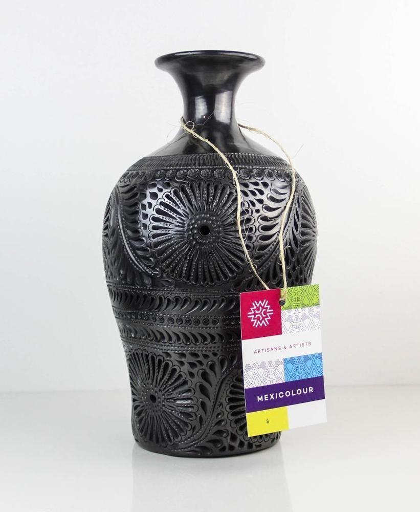 Black clay pottery flower vase luminary decoration oaxaca barro black clay pottery flower vase luminary decoration oaxaca barro negro doa rosa reviewsmspy