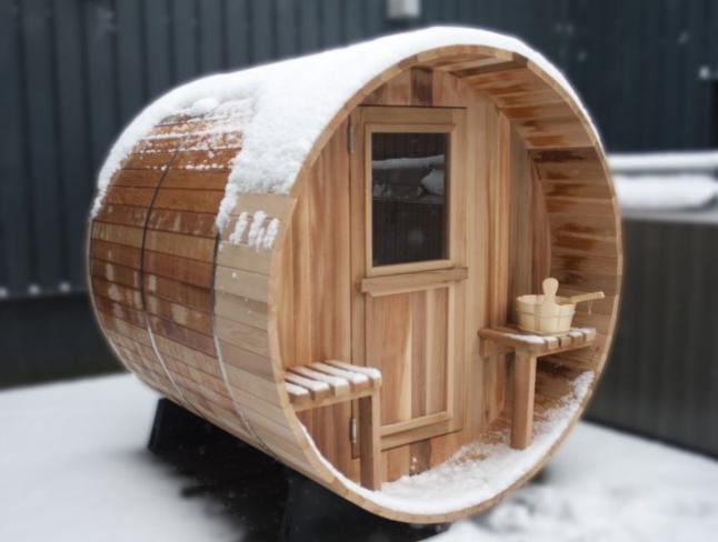 le sauna tonneau jardin terrasse en 2019. Black Bedroom Furniture Sets. Home Design Ideas