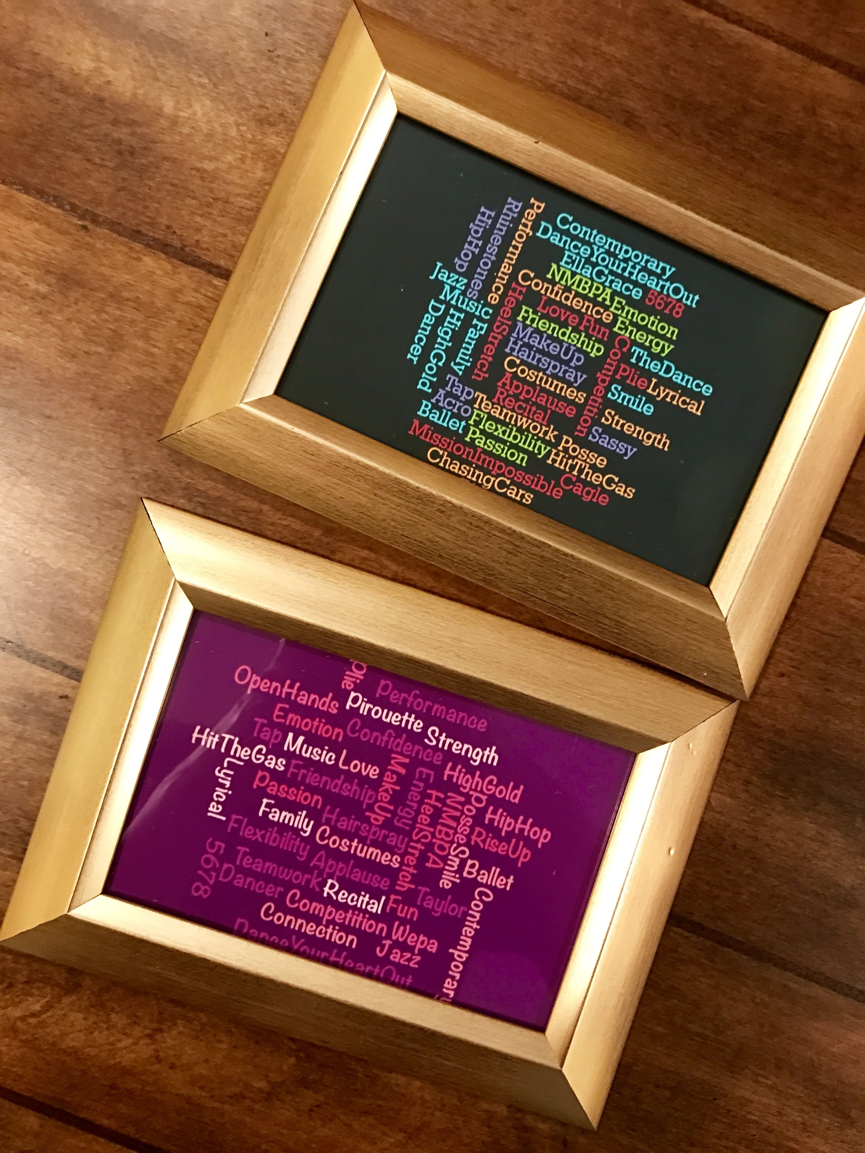 End of the year dance gifts!! Created the word cloud photos on ABCya,