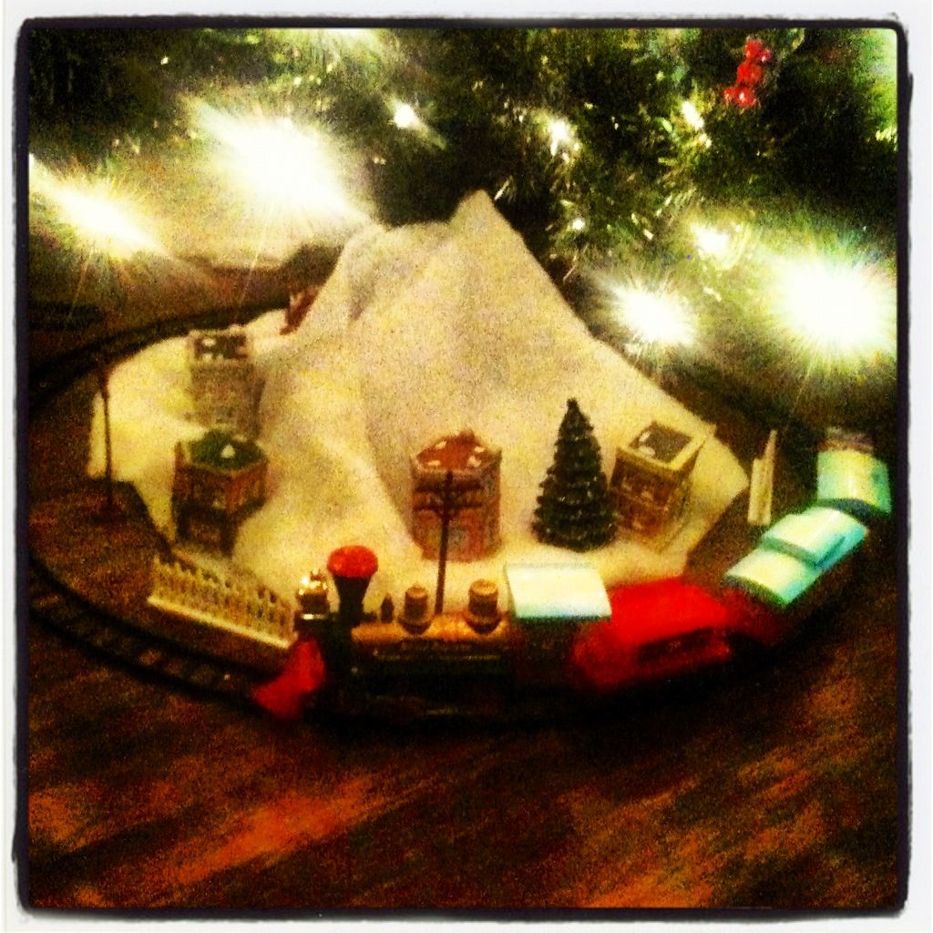 Train and village underneath the Christmas tree. | My Decorating ...