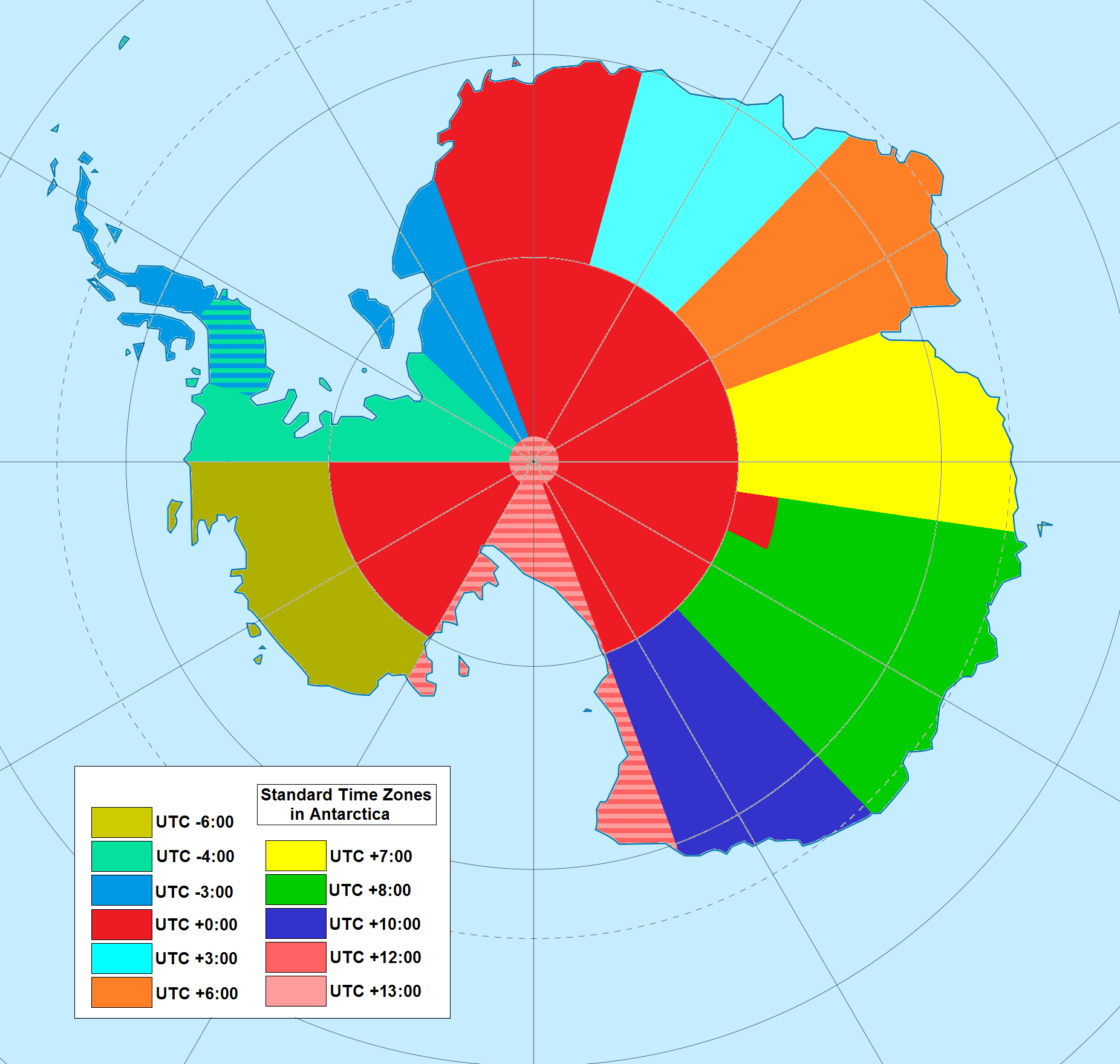 Universal Time Zone Map.Antarctica Land Of The Complicated Time Zones Simply Cool Map