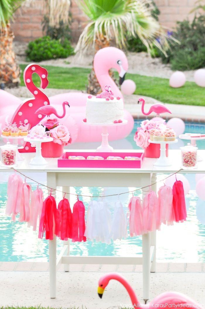 Baby Shower Pool Party Ideas nautical preppy pink baby shower Flamingo Pool Art Birthday Party By Kara Allen Karas Party Ideas Karaspartyideascom