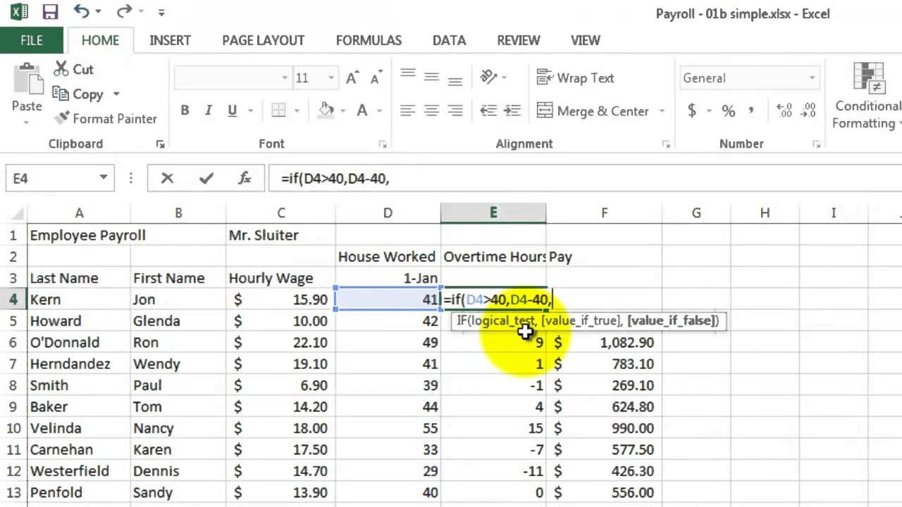 Microsoft Excel 02 Payroll Part 2 How To Use If Formula Business Articles Microsoft Excel Excel Excel formula for payroll hours