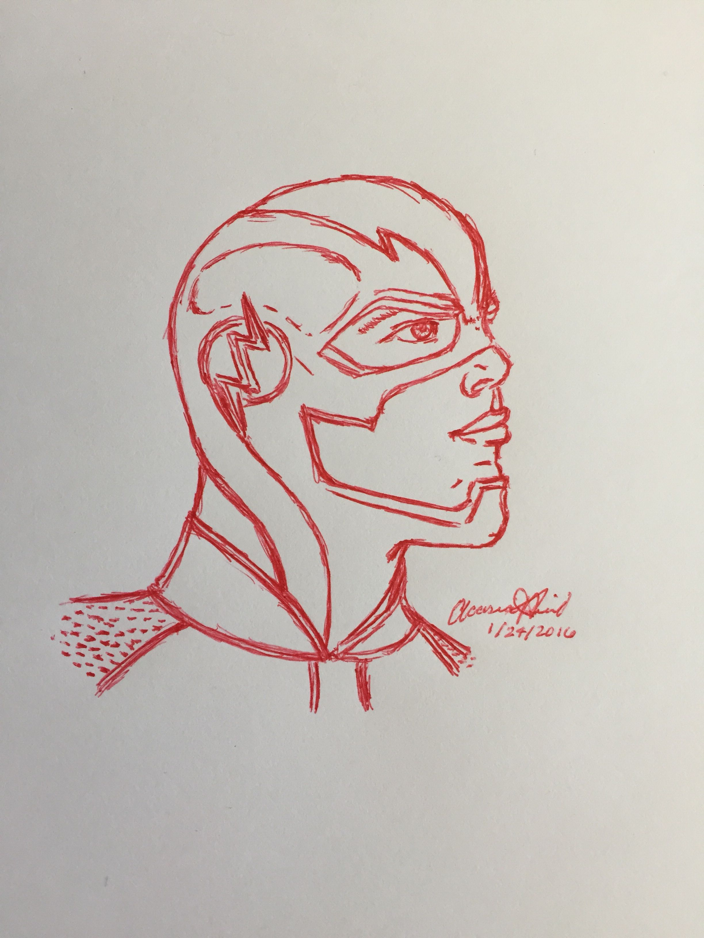 The Flash Line Art : Red pen the flash drawing mine draw
