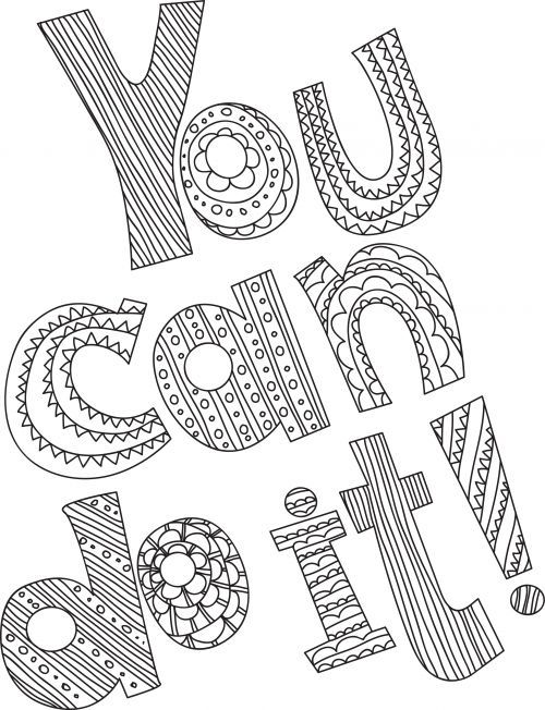 You Can Do It Stress Coloring Book Quote Coloring Pages