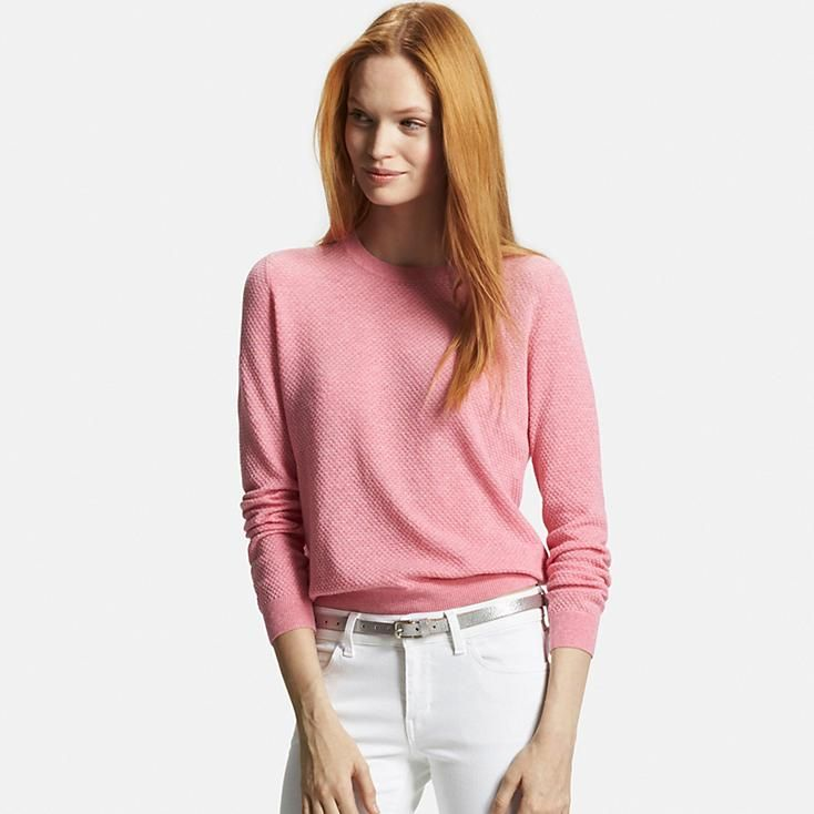 WOMEN COTTON CASHMERE LACY CREWNECK SWEATER | UNIQLO | I Would ...