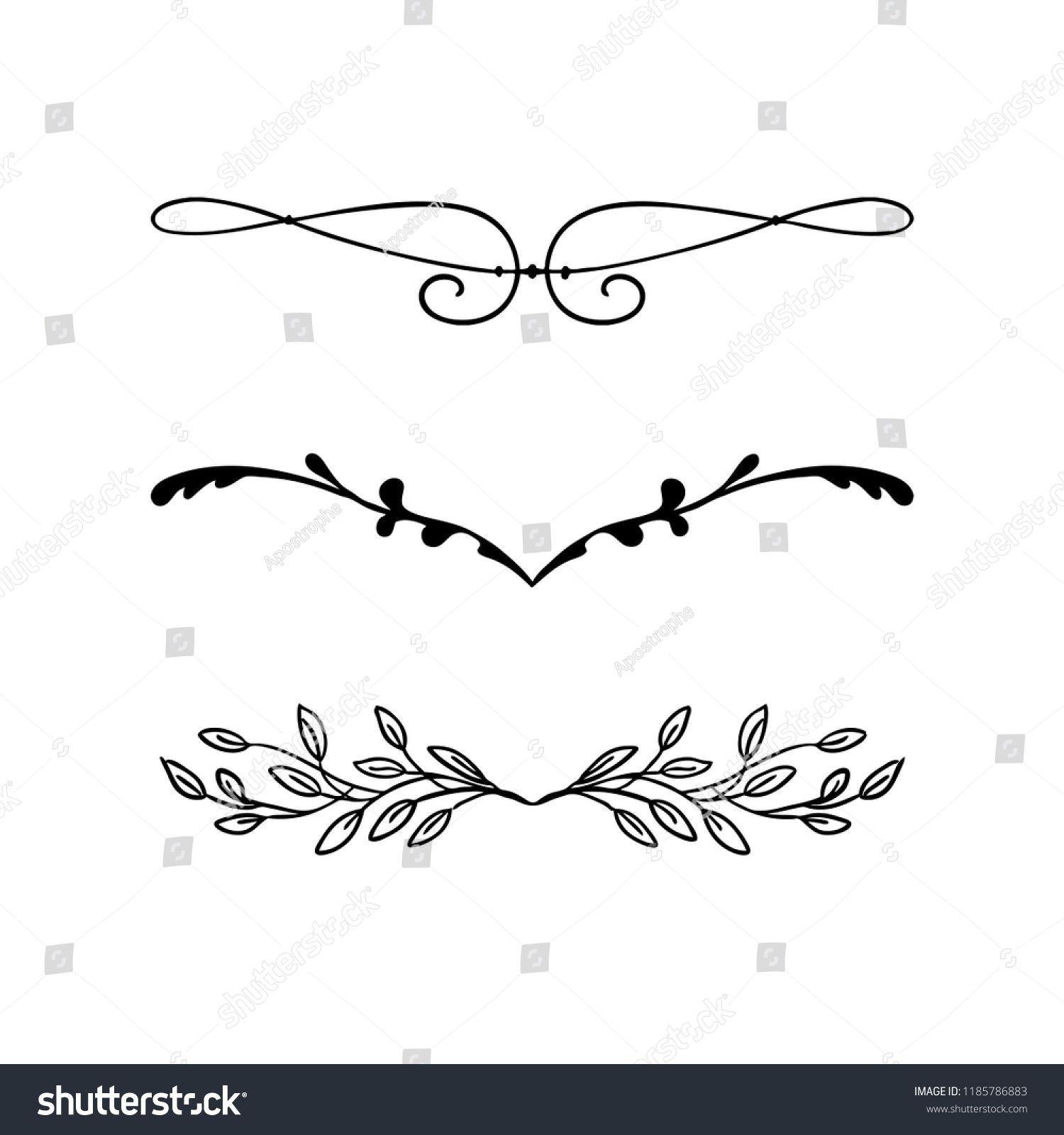 Design Element Vector Beautiful Fancy Curls And Swirls Divider Or Underline Design With Ivy Vines And Leaves In Black Design Element Chalkboard Designs Design
