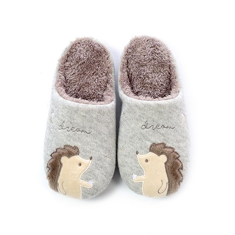 Photo of Cute Fox Unicorn Bear Animals Indoor Cartoon Fur Warm Slippers Hedgehog Gray 38