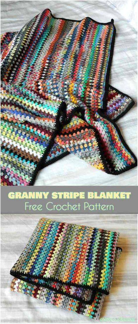 Granny Stripe Blanket Free Pattern | Crochet | Pinterest | Manta ...