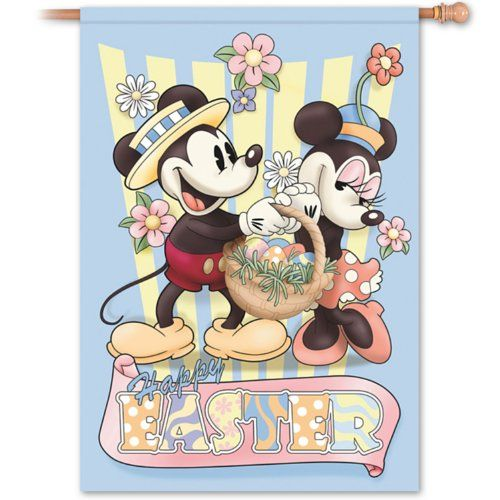 Retro Disney Mickey And Minnie Mouse Happy Easter Flag By The Hamilton Collection Niftywarehouse NiftyWarehouse Geek Gifts Collectibles