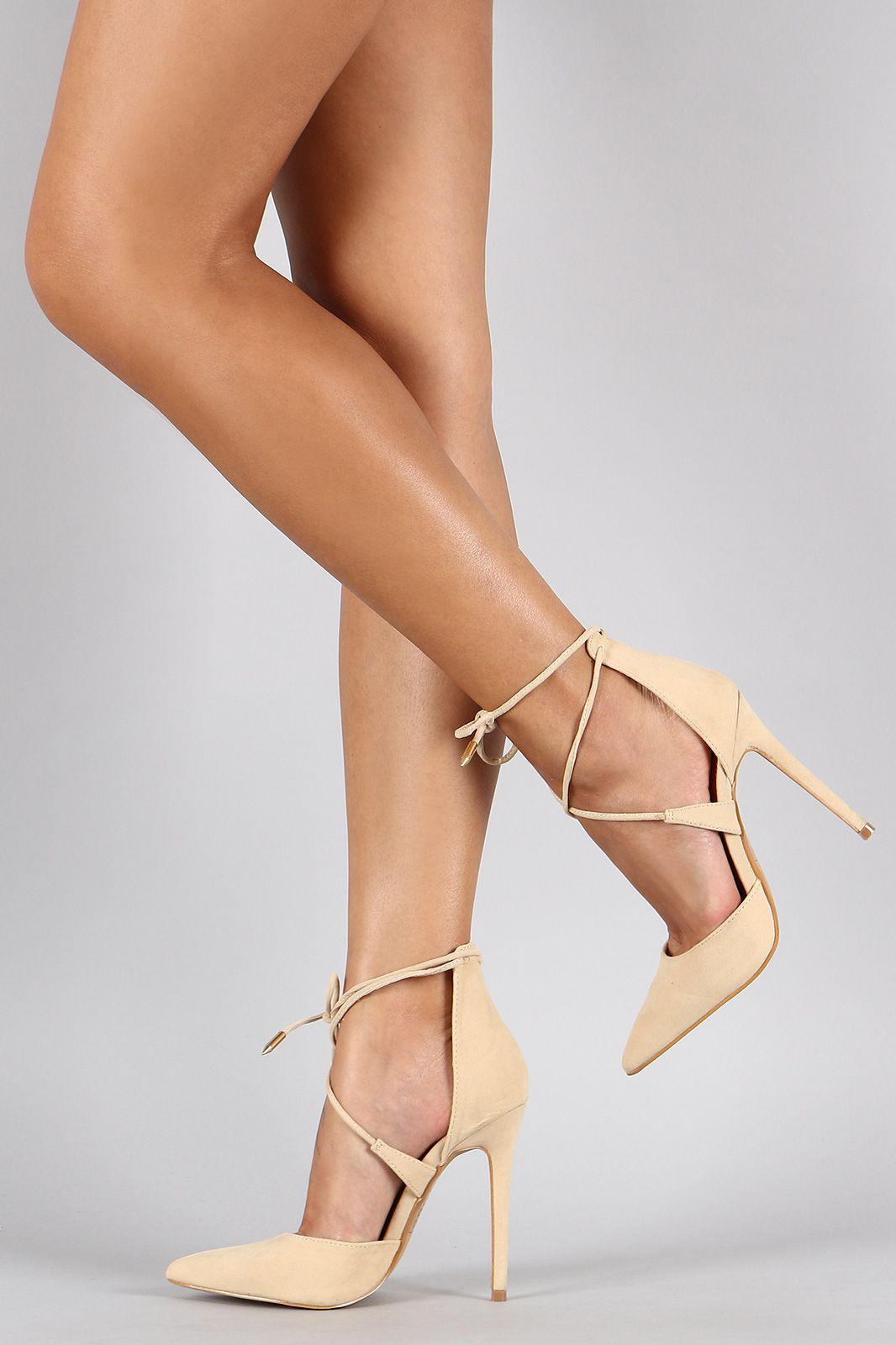 d33699641ce5 Shoe Republic LA Suede Ankle Tie Pointy Toe Pump