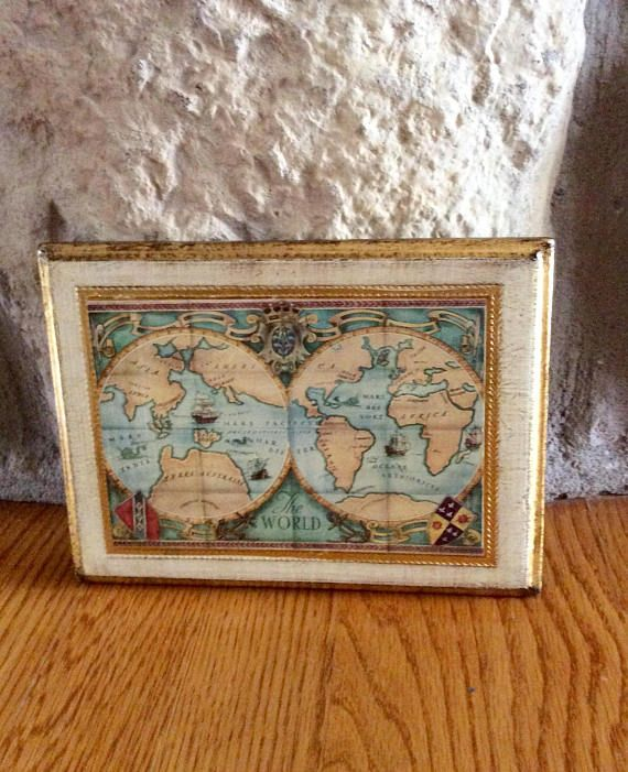Beautiful vintage florentine wood plaque of world map made in italy beautiful vintage florentine wood plaque of world map made in italy done in gold gumiabroncs Image collections