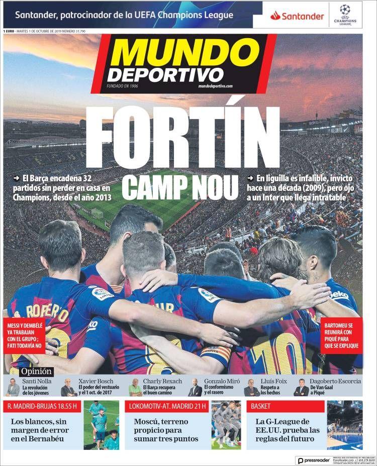 20191001 Portada de El Mundo Deportivo (España) Mundo