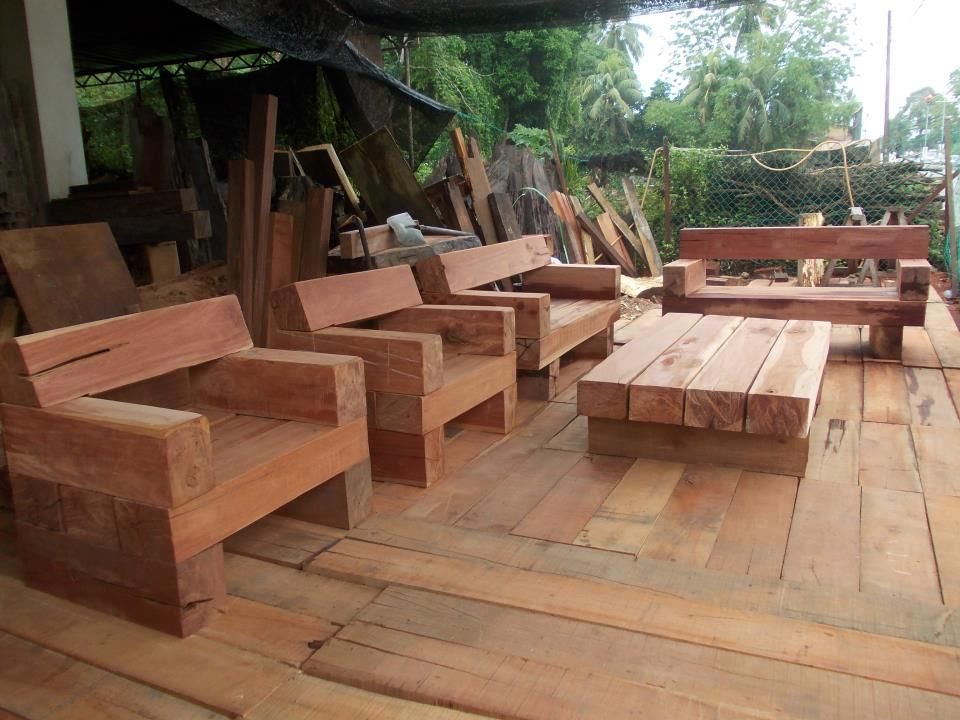 Superb Outdoor Furniture Made Of Railroad Ties