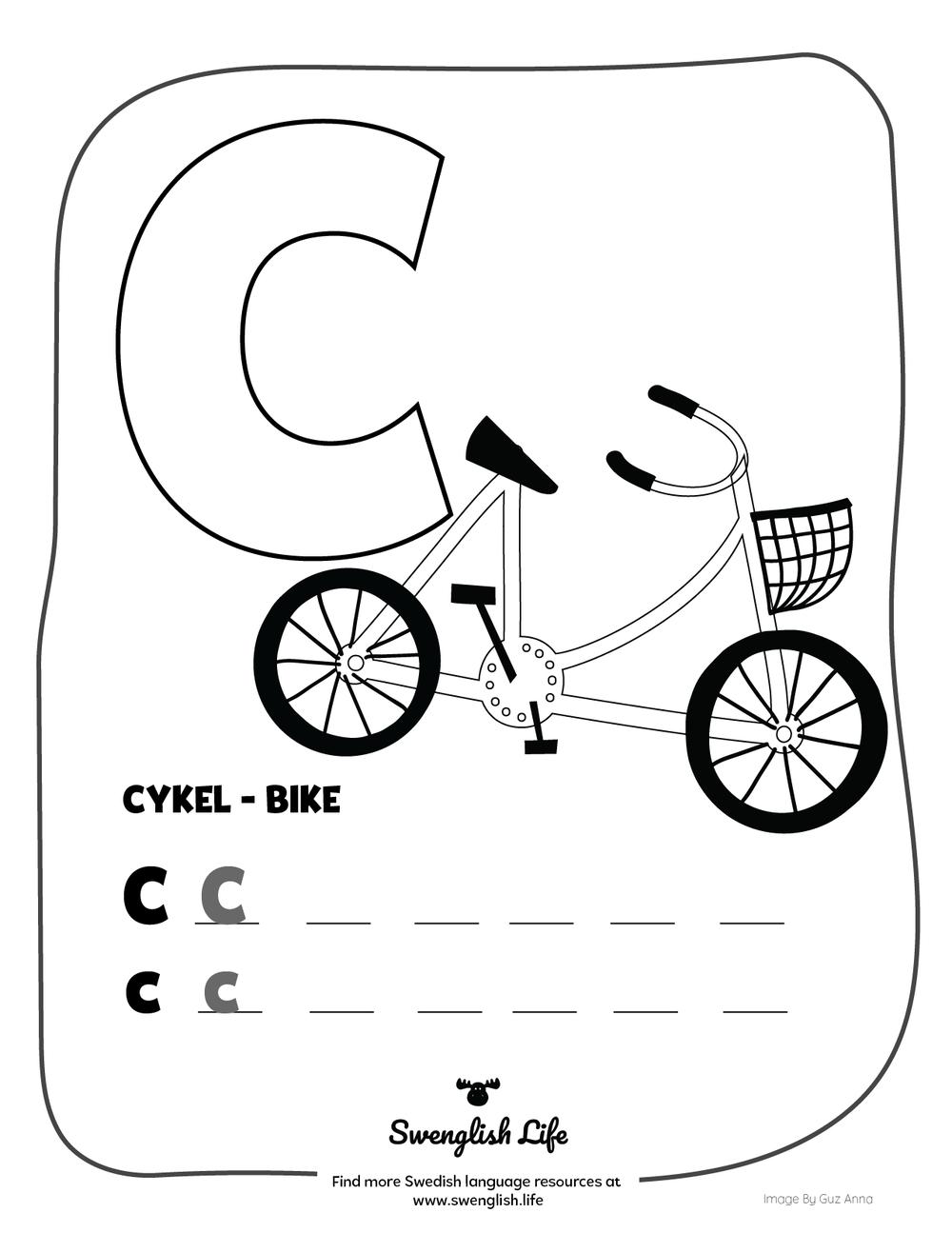 Lär dem det svenska alfabetet: Bokstaven C som i cykel