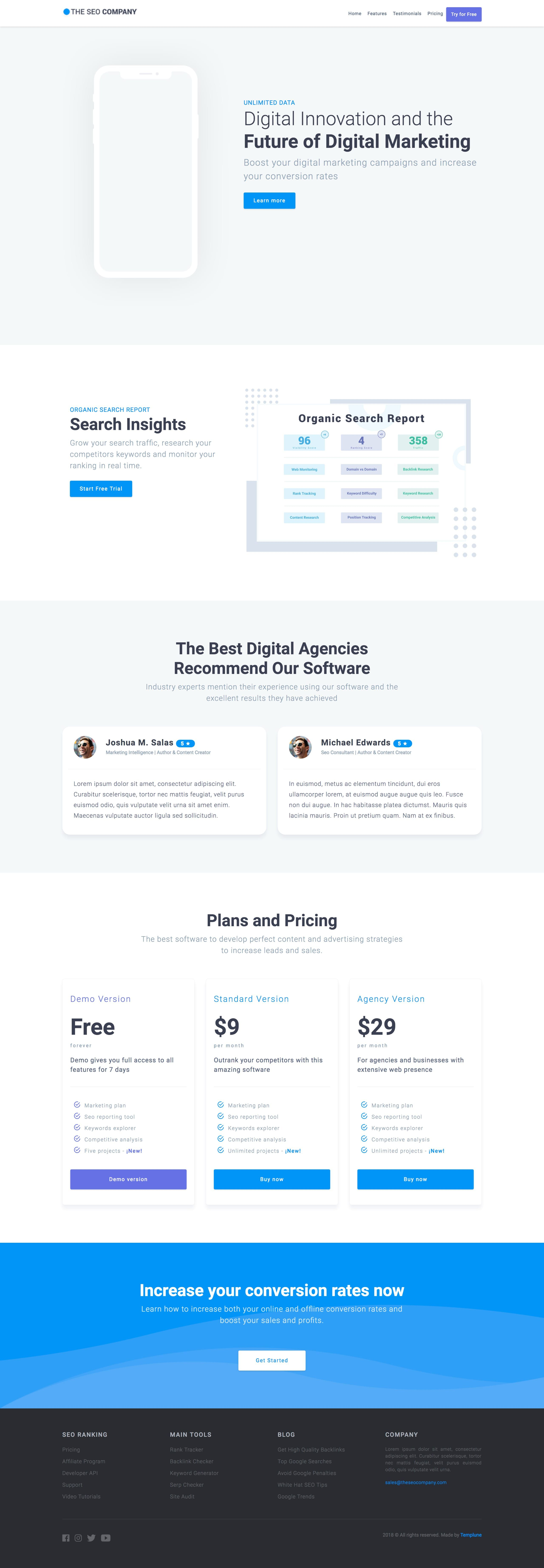 The Seo Company Is A Free One Page Html Template For A Digital Agency Wanting A Clean Online Presence Features I Psd Template Free Psd Templates Seo Company