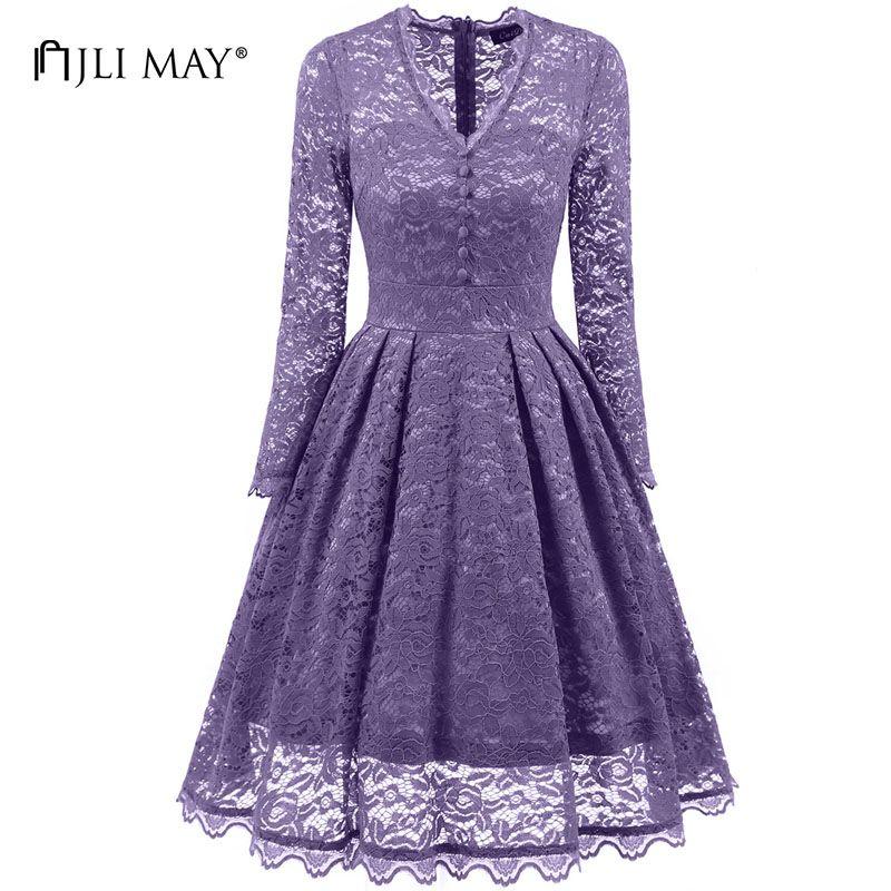 comprar JLI PUEDE Vintage encaje de manga larga vestido de partido ...