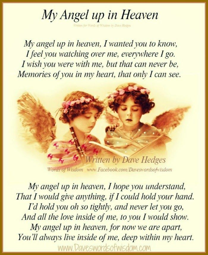 Daveswordsofwisdomcom My Angel Up In Heaven In Memory Of My